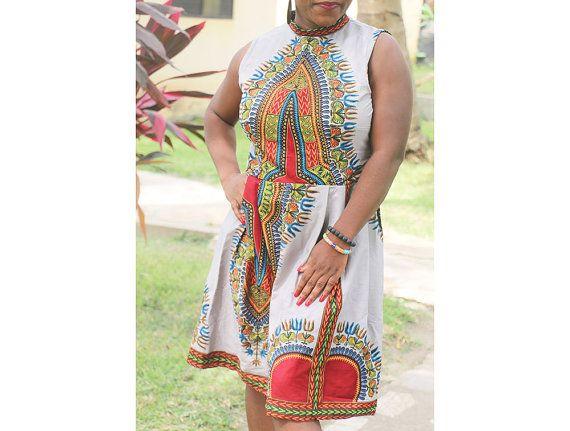 Dashiki Midi Dress Angelina Dress Ankara Dress by AfrowearHouse