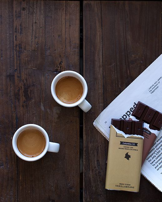 on the table - coffee and dark chocolate