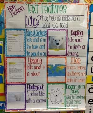 Text features for non-fiction, somewhat color-coded (tee-hee). First grade anchor chart. by leona