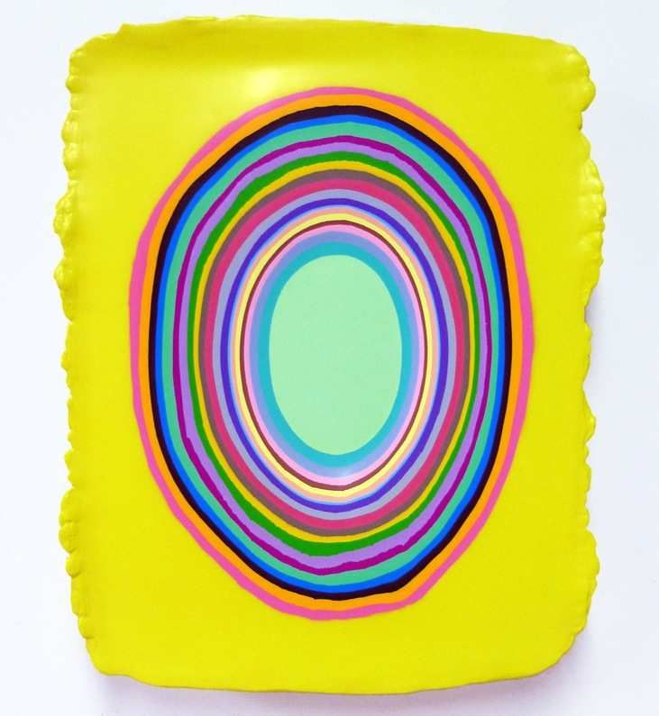 Jeremy Hof, Multi Colour on Yellow, 2013, acrylic on panel, 40.6 x 33 cm, courtesy of the artist and Jessica Bradley Inc., at the Ottawa Art Gallery.