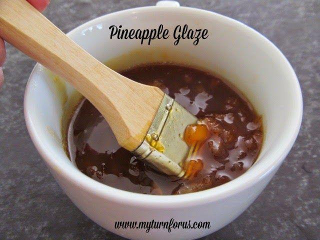 Pineapple Glaze is an easy homemade glaze for ham, chicken or pork.  http://www.myturnforus.com/2014/12/pineapple-glaze.html
