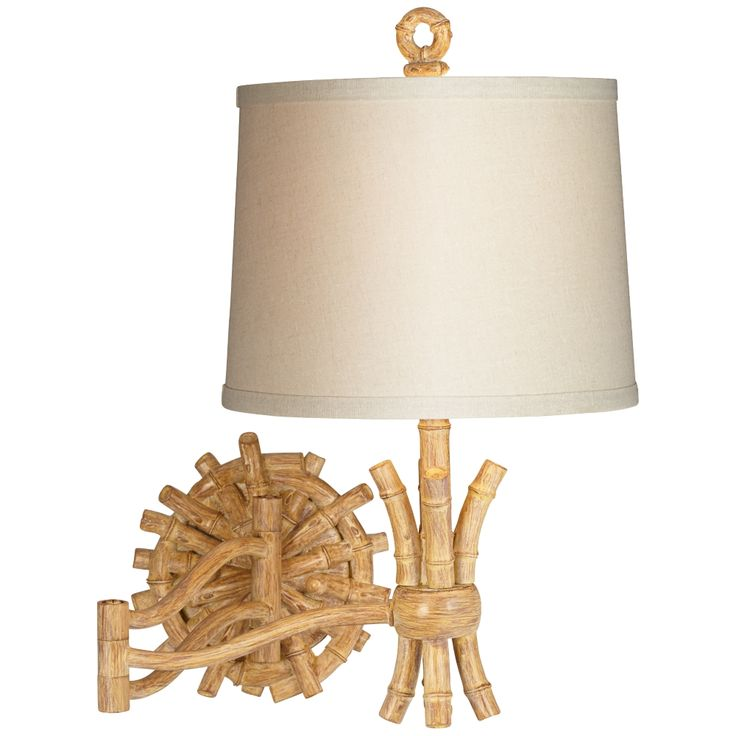 "Elegant Bamboo 11"" Wide Swing Arm Wall Lamp - Style # 8Y205"