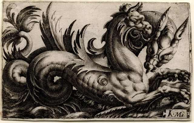 Giovanni Andrea Maglioli (active 1580 - 1610), printmaker  Two marine monsters  engraving, 1580 - 1610