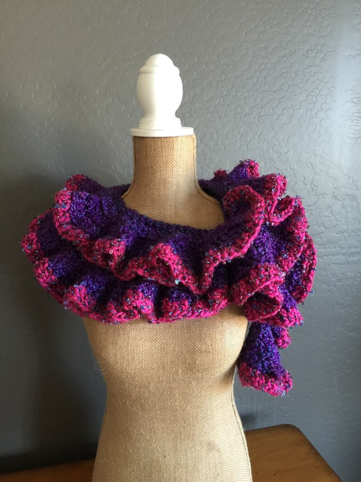 "PRETTY Crocheted Ruffle Potato Chip Scarf: Classic Scarf in ""Purple Haze"" and Isaac Mizrahi ""Merriweather"" by MyOnDemandStyle on Etsy https://www.etsy.com/listing/267079448/pretty-crocheted-ruffle-potato-chip"