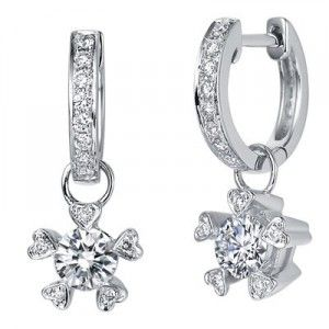 1 Carat Diamond Earrings on 18K White Gold
