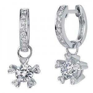 1 Carat Diamond Earrings on 18K White Gold