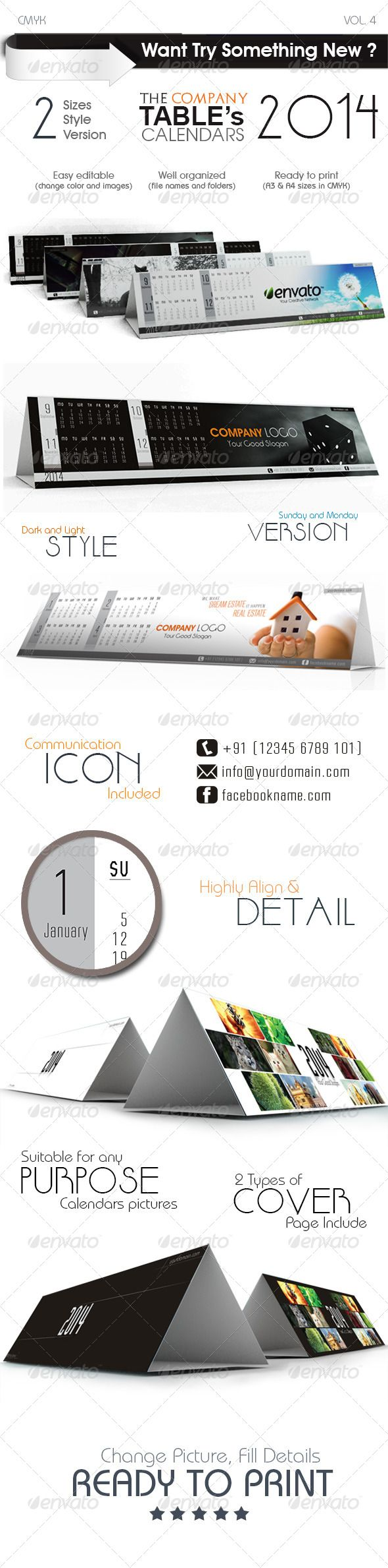 The Company Table Calendars  #GraphicRiver                                                                                                                                                                                 More