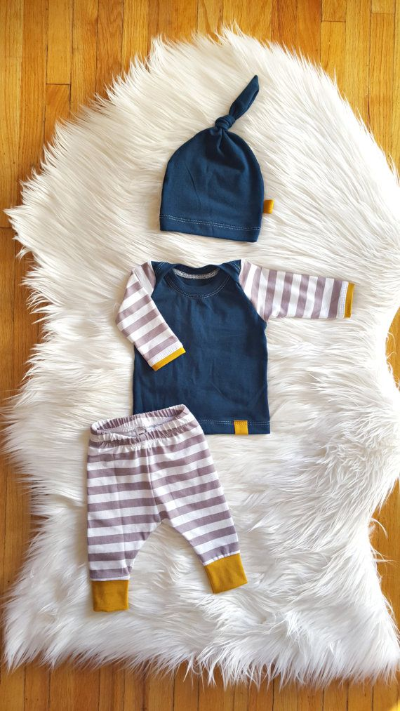 Gray Stripe and Teal Coming Home Outfit, Baby Boy, Baby Girl, Gender Neutral, Leggings, Shirt, Matching Knot Hat, Size Newborn - 9 mos