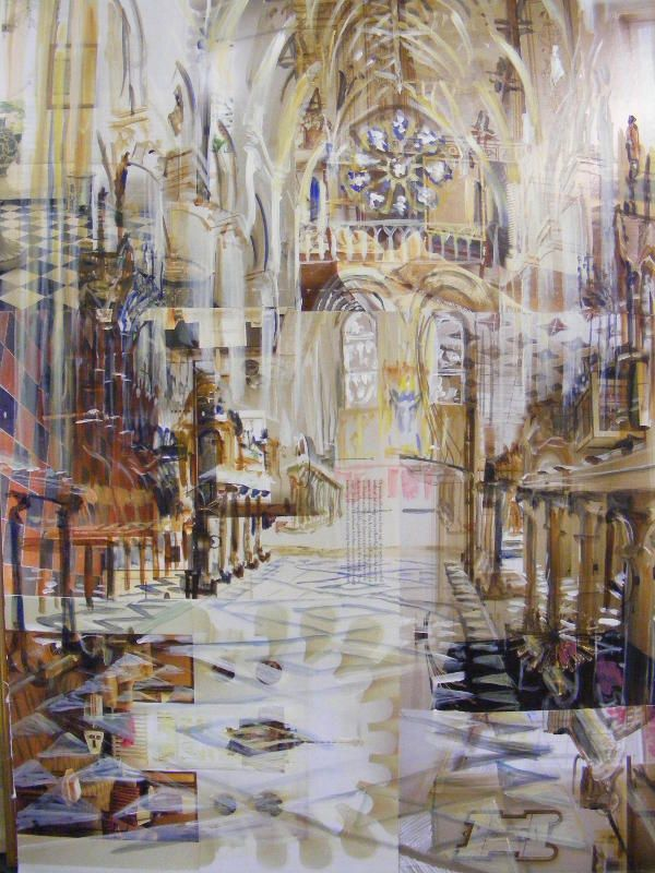 Alison Pullen mixed media 'Christchurch Cathedral'