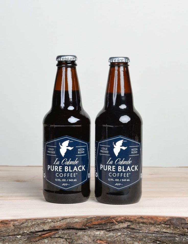 A Cold-Pressed Bottled Coffee from La Colombe Steeped for 16 hours in stainless steel wine tanks, free from oxygen, pressed and filtered twice, PURE BLACK is a bottled celebration of the culinary flav