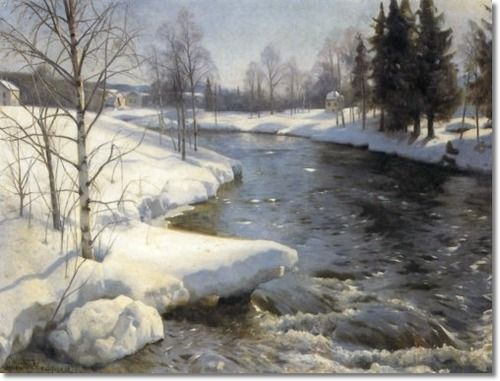 Peder Mørk Mønsted (1859-1941): Snowy Winter Landscape, 1936