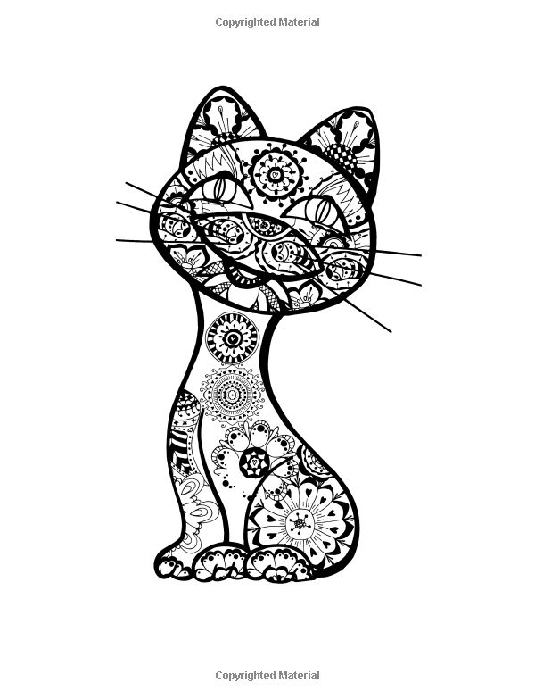 Cat design Adult coloring and