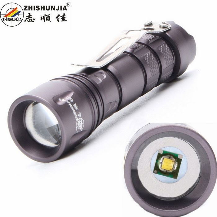 ZHISHUNJIA SK72XPE 1-LED 400lm 3-Mode White Zooming Flashlight w/ Clip - Grey (1 x 14500 / AA). Color Grey Model SK72XPE Quantity 1 Set Material Aluminum alloy Emitter Brand Others,N/A LED Type XP-E Emitter BIN Q5 Color BIN Cool White Number of Emitters 1 Working Voltage 1.5~3.7 V Power Supply 1 x 14500 / 1X AA batteries (not match) Current 1.5 A Theoretical Lumens 500 lumens Actual Lumens 400 lumens Runtime 4 Hour Number of Modes 3 Mode Arrangement Hi,Low,Fast Strobe Mode Memory Yes Switch…