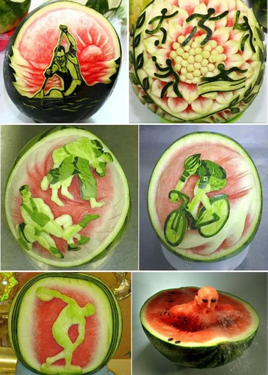 Best Watermelon Art Images On Pinterest Artworks Carving - Incredible sculptures carved watermelon