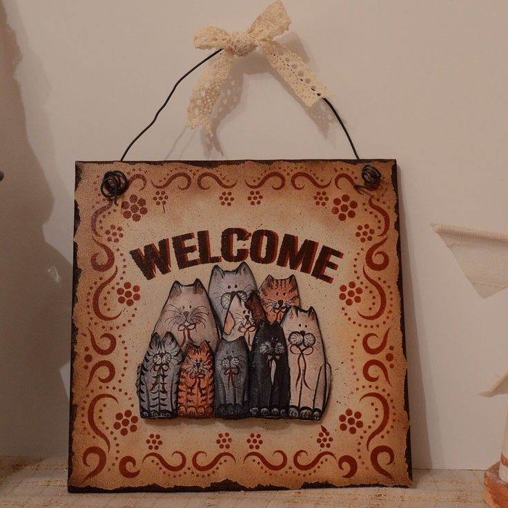Welcome, cat, wood, stencil, wallhanging, decoupage