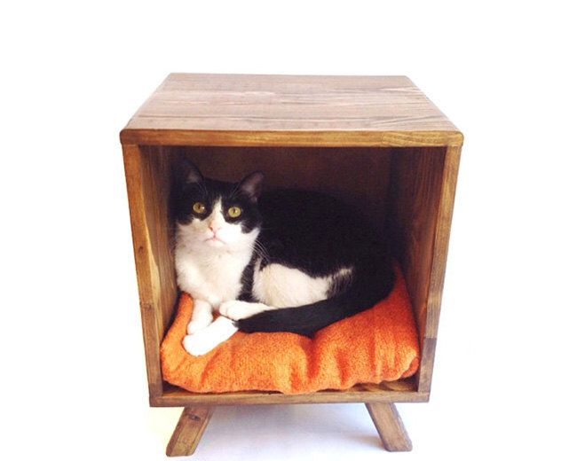 Cat Bed, Mid Century Modern Tables, Midcentury Bedside Table, Modern Pet Bed, Nighstand, Coffee Table, Side Table, End Table by VintageHouseCoruna on Etsy https://www.etsy.com/listing/228838410/cat-bed-mid-century-modern-tables