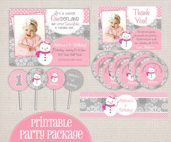 items similar to winter onederland girly snowman pink grey printable birthday party package on etsy - Winter Onederland Party Invitations