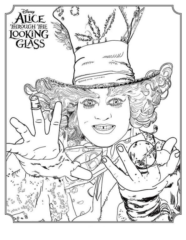 Coloring Page Alice Through The Looking Glass Mad Hatter