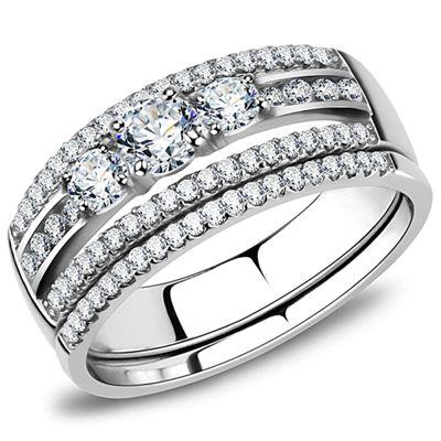 A Perfect 3.768TCW Round Cut Russian Lab Diamond Journey Bridal Set Ring