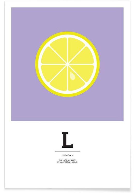 """""""The Food Alphabet"""" - L like Lemon en Affiche premium par BLAEK Design Studio   JUNIQE"""