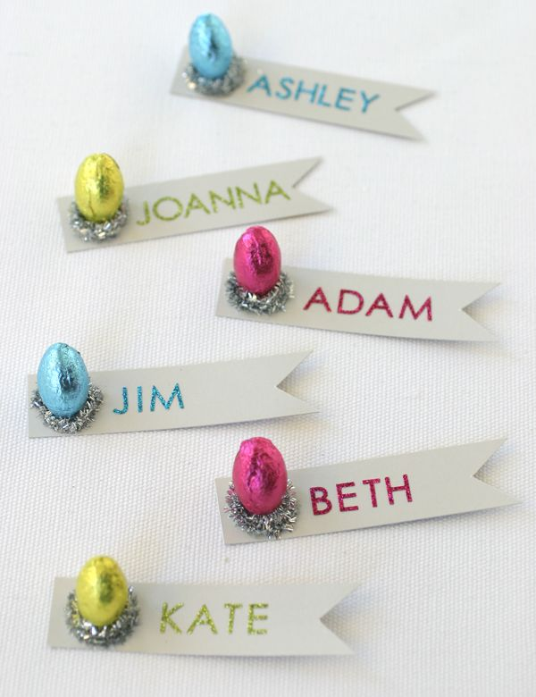 Glitzy Easter Placecards | Oh Happy Day!