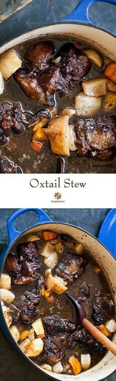 Deliciously rich oxtail stew recipe, with oxtails braised in red wine and stock, with onions, parsnips, and carrots. On http://SimplyRecipes.com
