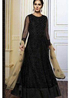 noir costume Anarkali net, - 153,00 €, #Robeindou #Tenueindienne #Robeindienne #Shopkund