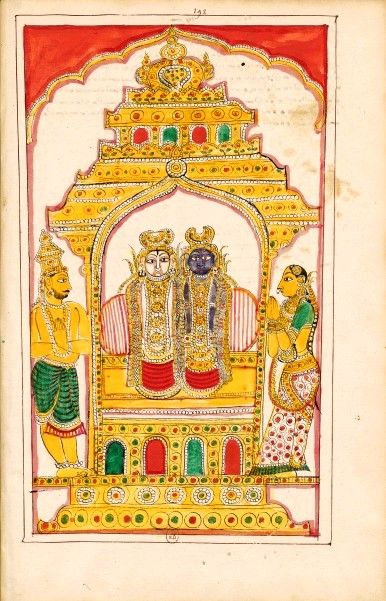 """Jagannatha temple, where Krishna and Balarama are worshiped.  Illustrations of The Story of Krishna or incarnation of Vishnu. Karaikal (Tanjore), between 1742 and 1758.  © National Library of France. A temple housing the body of Jagannatha and Balabhadra (other aspects of Krishna and Balarama). Jagannatha, """"Lord of the Universe"""" is one of the names of Krishna..It is this form that is worshiped in Puri (Orissa), at the temple of Jagannatha."""