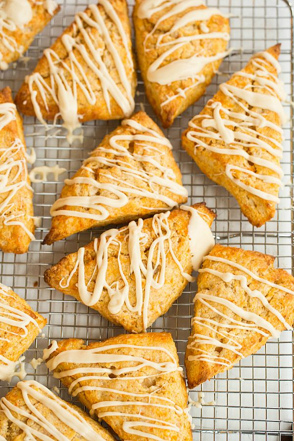 Sweet Potato Scones with Maple Cream Glaze by @Michelle (Brown Eyed Baker) :: www.browneyedbaker.com