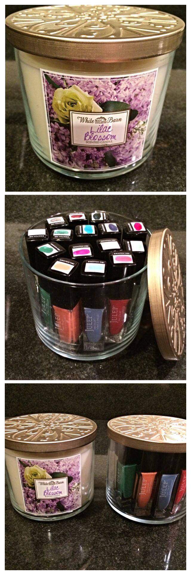 Cleaned out and reused a Bath and Body Works candle jar to store my Julep nail polishes: Bath And Body Works, Julep Nail Polish, Works Candle, Candle Jars