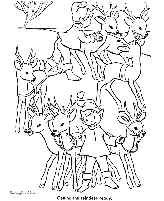 santas elves and reindeer printable pages - Coloring Pages Santas Reindeer