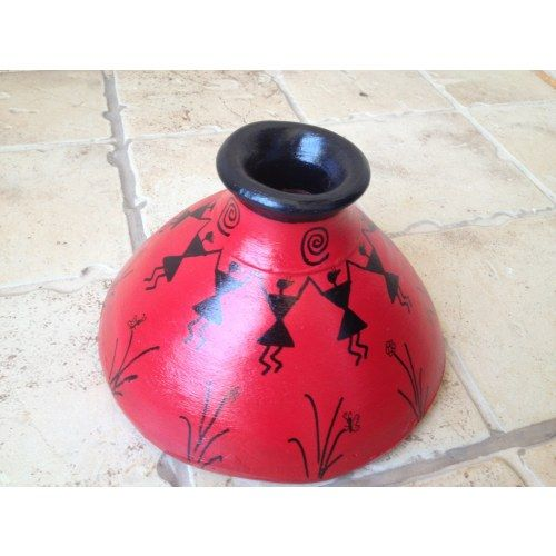 Red Handmade Hand Painted Terracotta Vase with Warli Art