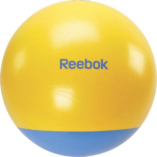 Gymbal Reebok 2-tone  Description: De Reebok gymbal is gemaakt van een hoogwaardig kunststof. Deze gymballen zijn verkrijgbaar in de maten 65 en 75 cm. De Reebok Gym ball is ideaal voor sit-ups rug-oefeningen en algemene fitness-training.Productinformatie- Inclusief pomp - Anti-burst materiaal \\n - Te gebruiken op elke ondergrond \\n - Zeer goede hulp bij sit-ups rugoefeningen etc - Maten zijn het meest geschikt voor: Lichaamslengte Aanbevolen maat - van 156 tot 165cm 55cm \\n - van 166 tot…