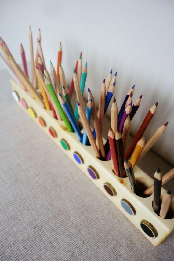 Montessori wood pencil holder, color sorting, practical life