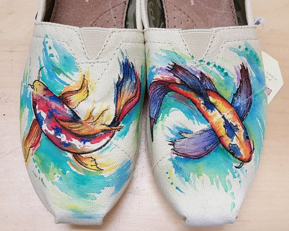 Watercolor koi fish hand painted TOMS shoes