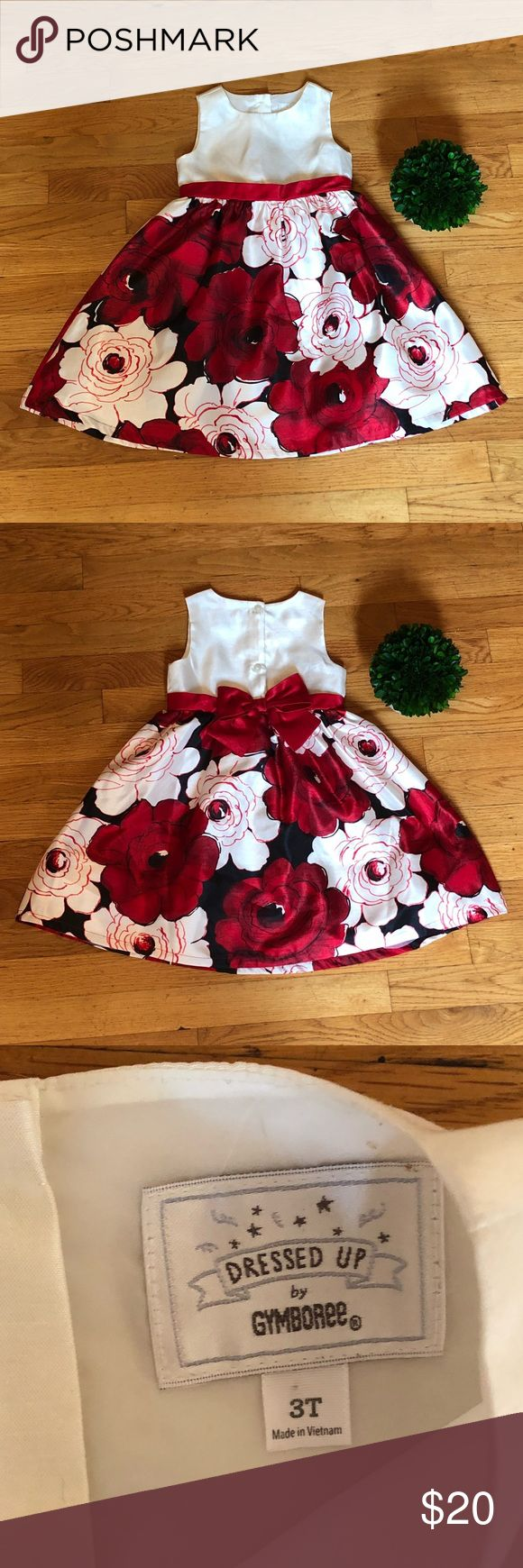 Gymboree Toddler holiday dress Gymboree Toddler holiday dress. Red, black & white flowers. Now on back. Worn once. There is a minor light pink stain on the front of the dress. Perhaps with dry cleaning it will come out. Gymboree Dresses Formal