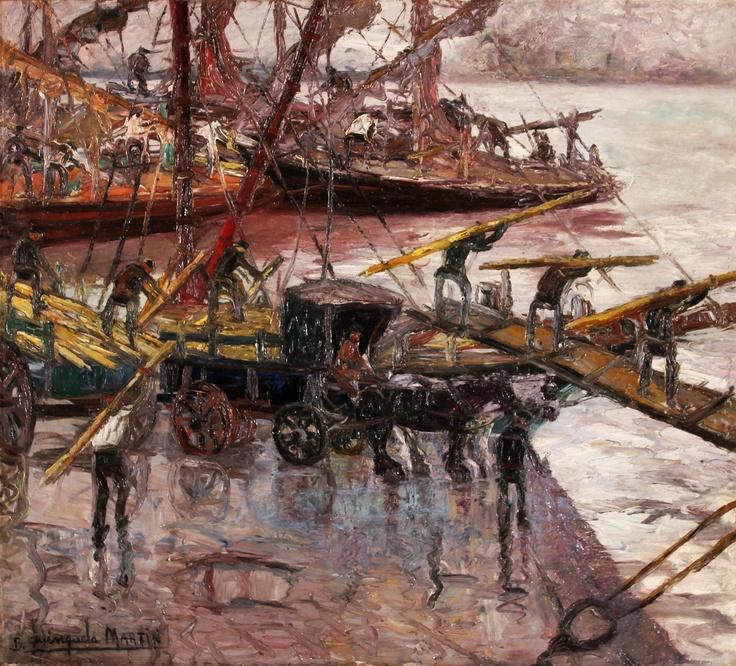 """Benito Quinquela Martín, """"Descarga de madera"""" óleo sobre tabla, 90 x 100 cm. (Año 1925)"""