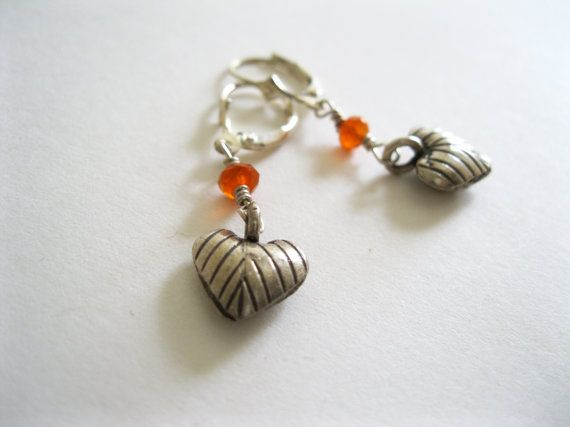 Carnelian and Hill Tribe Heart Leaf Sterling by blossomingsilver, £22.00