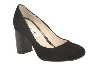 Clarks Gabriel Mist, Black Suede, Womens Smart Shoes
