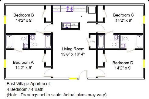 House plans with bathroom in each bedroom bedroom house for Dots design apartment 8