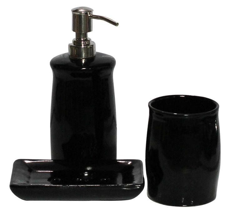 bulk wholesale set of 3 bathroom accessories in black color handmade in ceramic unique - Bathroom Accessories Distributors