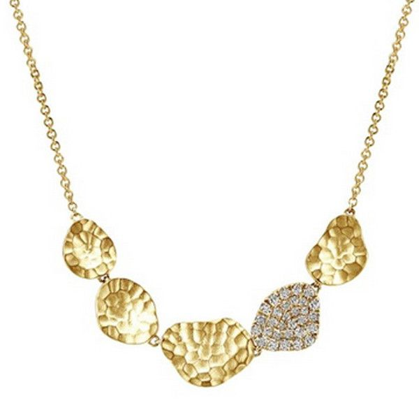 Gabriel 14K Yellow Gold Hammered Diamond Necklace Featuring 0.21 Cts Round Cut Pave Set Diamonds at Ben Garelick Jewelers, Buffalo NY 14221. Style NK4917Y45JJ