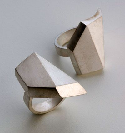 Regine Schwarzer contemporary jewellery designs: GeoMorphing Rings exploring notions of preciousness of gems, minerals and rocks