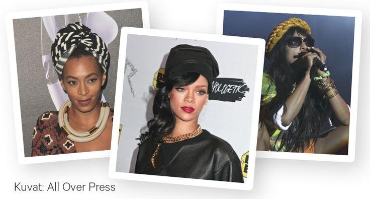 Huivityylin esimerkkiä näyttävät tyylikameleontti Rihanna, viime kesänä Suomessa Flow Festivalissa esiintynyt Solange Knowles ja tämän kesän Provinssirockiin saapuva M.I.A. Nämä naiset ovat tunnettuja asustekokeilijoita, joiden huivityyleistä jokainen voi ottaa mallia.