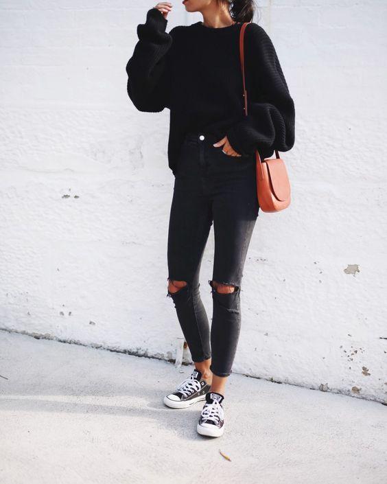 Outfits en negro para chicas boho
