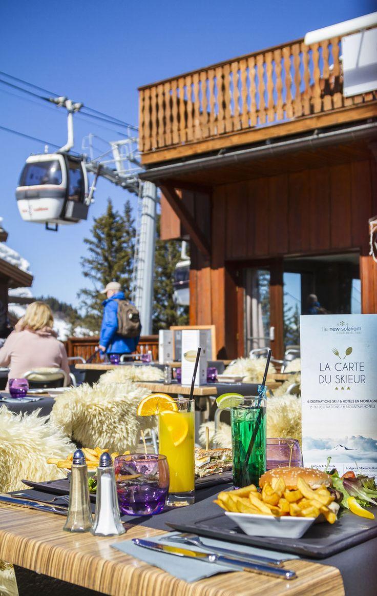 terrasse au déjeuner - carte snack @hotel new solarium courchevel