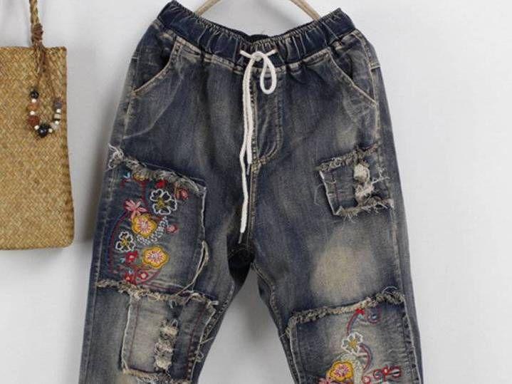 Casual Embroidery Elastic Waist Drawstring Denim Pants