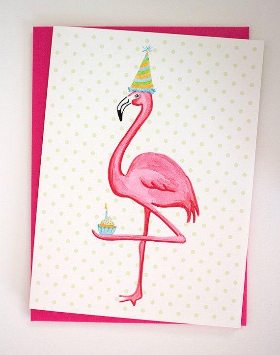 Carte de souhait, Flamant rose qui aime les cupcakes et les petits pois