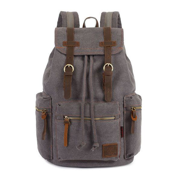 KAUKKO Canvas Genuine Leather Outdoor Big Capacity Shoulders Bag Backpack - US$42.39