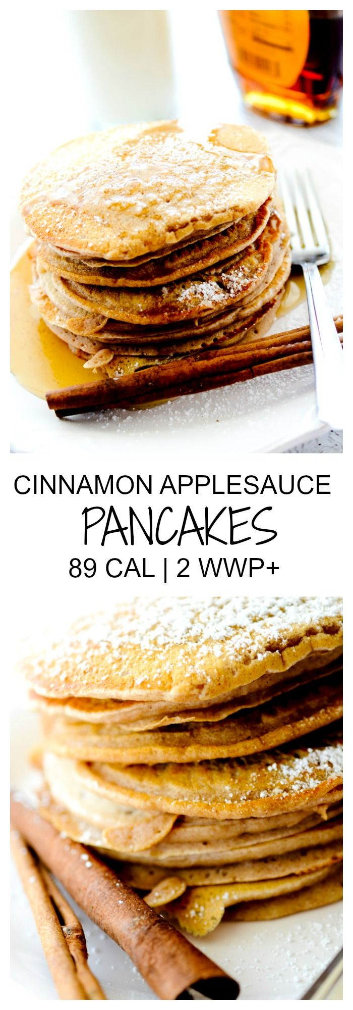 Cinnamon Applesauce Pancakes  - 89 Cal and 2 WWP+ per serving - Recipe Diaries #apples #Fall